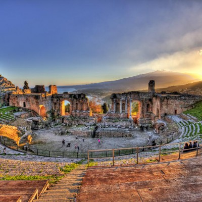 taormina greek theater and etna